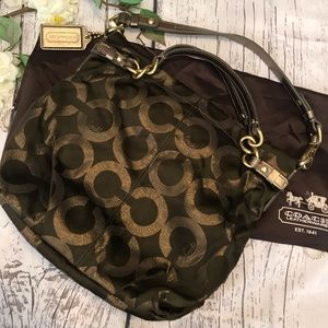 Opt Art Lurex Brooke Olive & Gold Hobo Bag